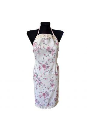 Кухонный фартук Bella Розовая клеточка/Розы с кружевом