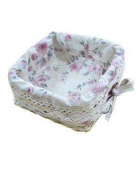 Хлебница декоративная плетенная Bella с чехлом Розы