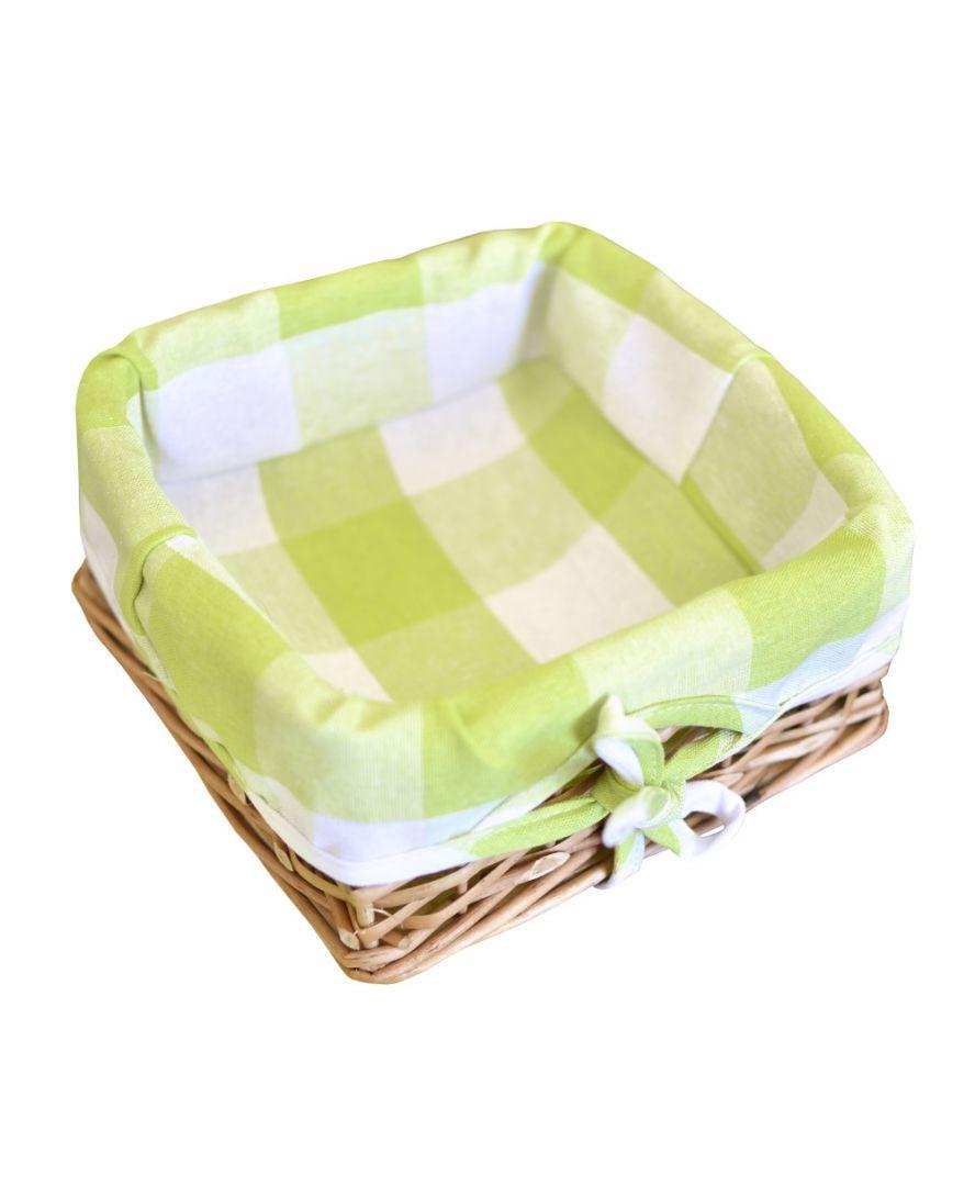 Хлебница плетенная Кантри зеленая клеточка