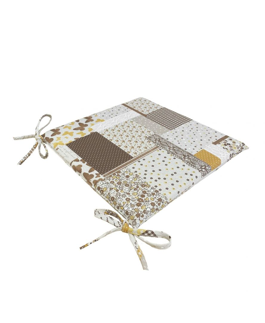 Подушка на стул Элит Коричневый пэчворк