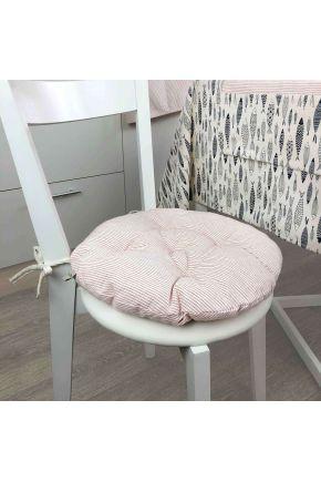 Подушка на стул круглая La Nuit FISH Красная полоска