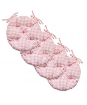 Набор 4 ед. подушки круглые на стул Bella Розовая клеточка
