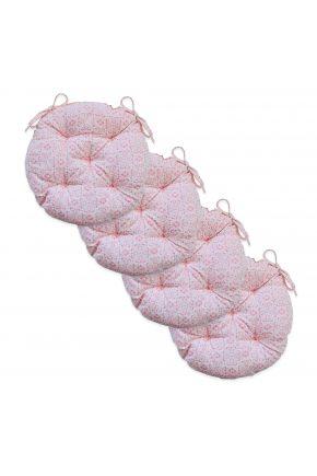 Набор 4 ед. подушки круглые на стул Bella Розовый витраж
