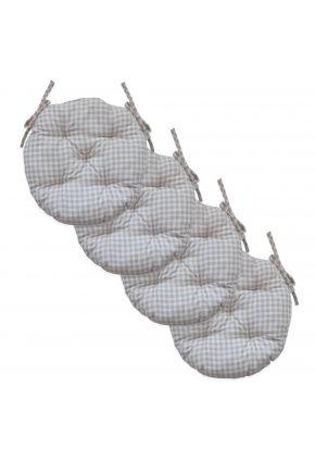 Набор 4 ед. подушки круглые на стул Bella Серая клеточка
