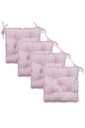 Набор 4 ед. подушки на стул Bella Розовая клеточка