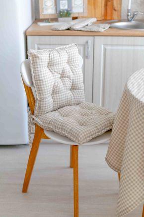 Подушка круглая на стул Bella Серая клеточка