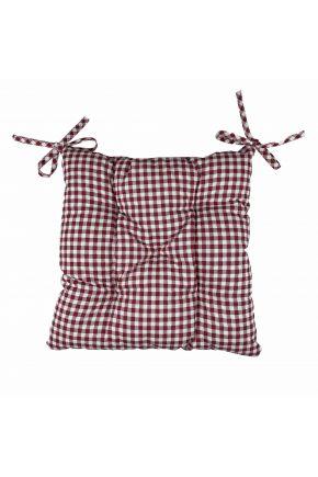 Подушка на стул Клеточка бордо