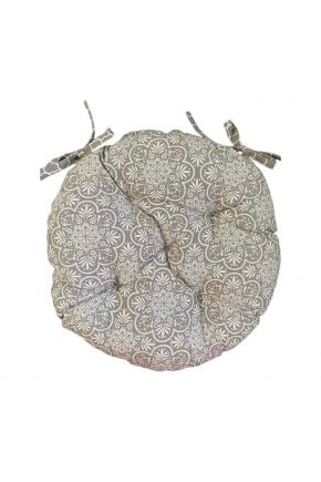 Подушка на стул круглая La Nuit Агата кружево капучино