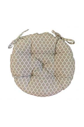 Подушка на стул круглая La Nuit Агата вензель капучино