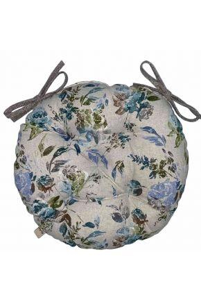 Подушка на стул круглая La Nuit ORO Роза голубая