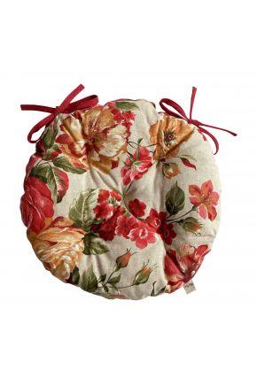 Подушка на стул круглая La Nuit РОУЗ Цветы большие