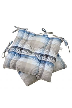 Подушка на стул Тартан голубая
