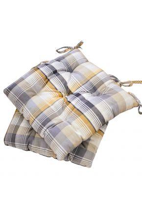 Подушка на стул Тартан желтый
