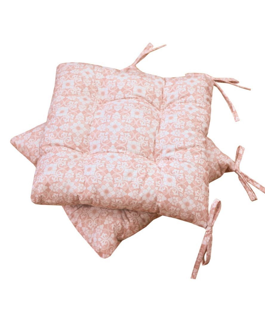 Подушка на стул узор на розовом