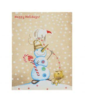 Новогоднее полотенце кухонное вафельное Happy holidays