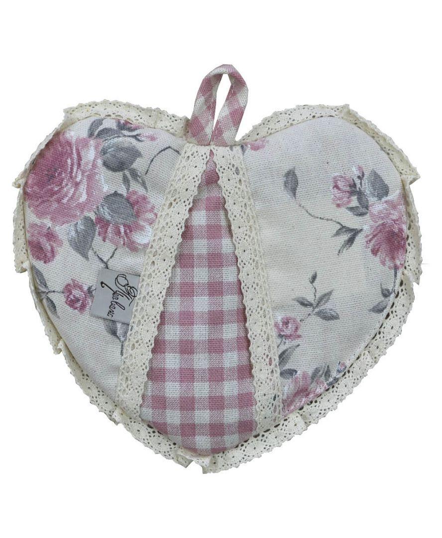 Кухонная прихватка сердце Bella Розы/Розовая клеточка