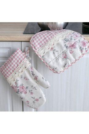 Кухонная рукавица Bella Розы/ Розовая клеточка