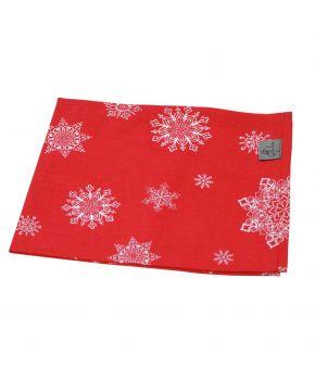 Новогодняя салфетка на стол красная Снежинка