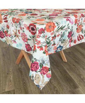 Гобеленовая скатерть на стол в цветах