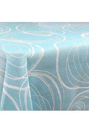 Тефлоновая скатерть круги на голубом