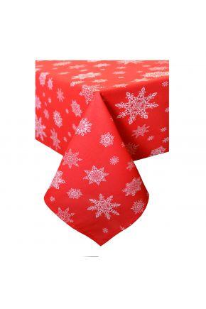 Новогодняя скатерть красная Снежинка