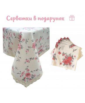 Скатерть на стол Bella Роза с кружевом
