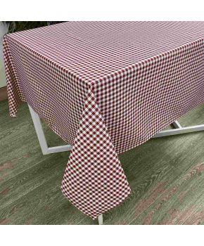 Скатерть на стол Клеточка бордо