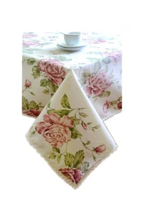 Скатерть с кружевом Прованс Large Pink Rose