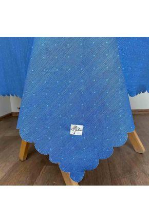 Скатерть водоотталкивающая Симфони горошек на синем