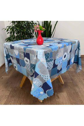Водоотталкивающая скатерть Симфони синие цветы