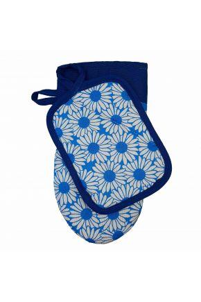 Набор прихватка и рукавица Ромашки на синем
