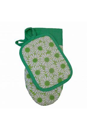 Набор прихватка и рукавица Ромашки на зеленом