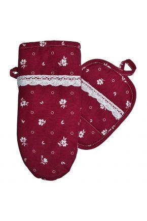 Набор прихватка и рукавица Бордовый с кружевом