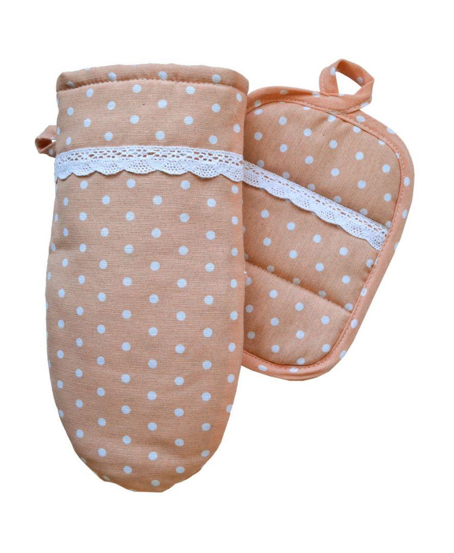 Набор прихватка и рукавица Коралловый
