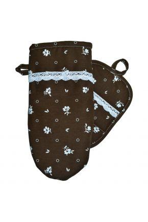 Набор прихватка и рукавица Коричневый с кружевом