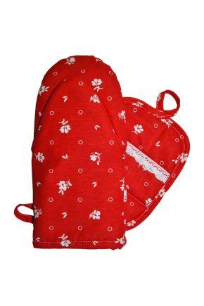 Набор прихватка и рукавица Красный с кружевом