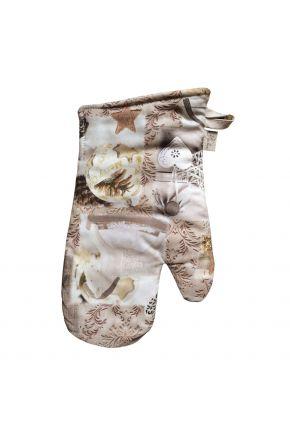 Новогодний набор прихватка и рукавица для кухни Digitale beige