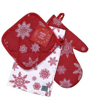 Новогодний набор прихватка, рукавица и полотенце Снежинка