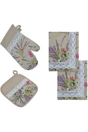 Набор 2 салфетки, рукавичка и прихватка Grosso