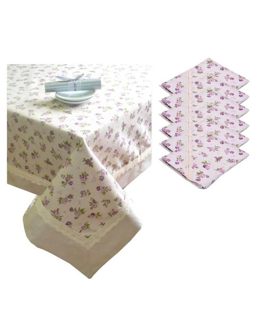 Набор салфетка и скатерть Lilac rose с кантом и кружевом ТМ Прованс