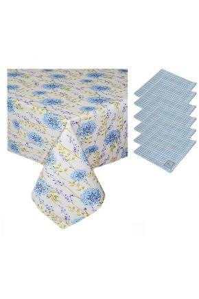 Набор салфетки и скатерть ТМ Прованс Андре Тан луговые цветы и голубая клетка