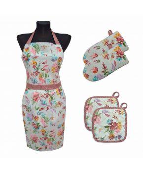Набор фартук, 2 прихватки и 2 рукавички ORO Разноцветная роза