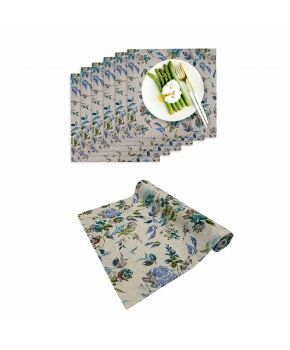 Набор 6 салфеток и дорожка на стол ORO Голубая роза