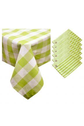 Набор скатерть и салфетки Кантри зеленые