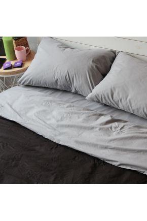 Постельное белье поплин Черный/Темно-серый