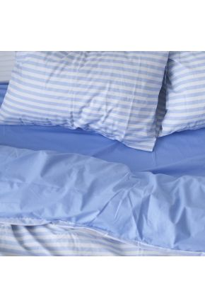 Постельное белье поплин Голубой/Голубая полоска