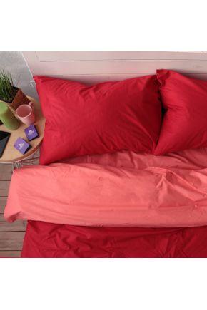 Постельное белье поплин Красный/Коралл
