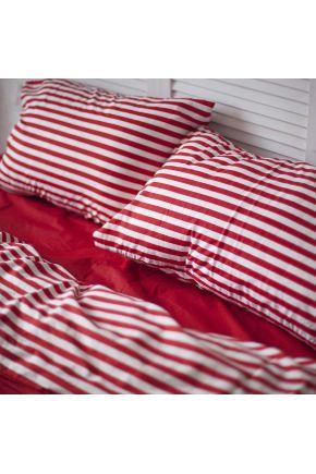 Постельное белье поплин Красный/Красная полоска