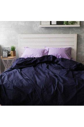 Постельное белье поплин Лаванда/Темно-синий
