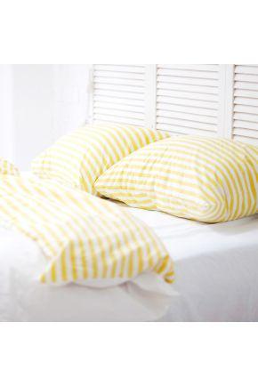 Постельное белье поплин Молочно-белый/Желтая полоска